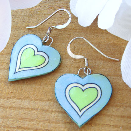 Light blue and lime green heart earrings
