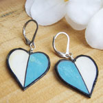paper earrings - blue and white hearts earrings