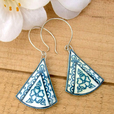China Blues - Wedgwood inspired lacquered paper earrings