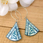 lacquered paper earrings in soft blue and offwhite