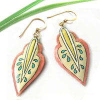 lacquered paper earrings - coral and cream earrings with yellow and blue...custom color choices available
