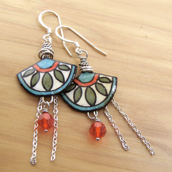 Aqua, cream, orange, and green rystal, chain, and paper earrings