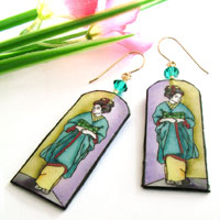 vivid geisha lacquered paper earrings with formal kimono and obi