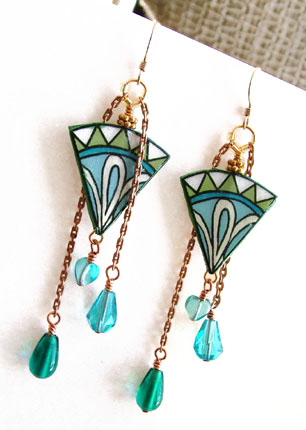 green and blue lacquered paper earrings