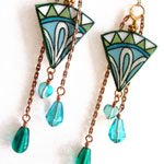 lacquered paper earrings in green and blue