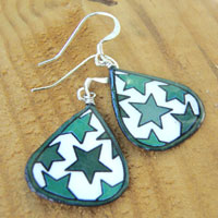 lacquered paper earrings - green and white stars earrings...custom color choices available