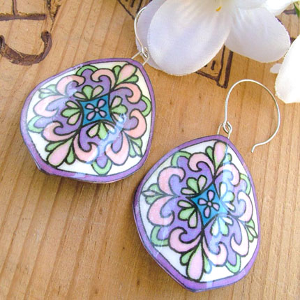 Lilac and Offwhite Mosaic Earrings