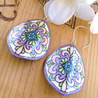 white, pink, green and lilac mosaic patterned paper earrings