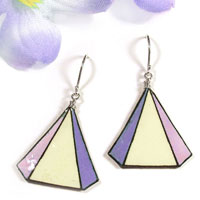 lacquered paper earrings - lilac, light purple and cream triangle geometric earrings...custom color choices available
