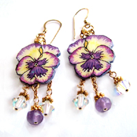 lacquered paper pansy earrings with amethyst and swarovski crystals