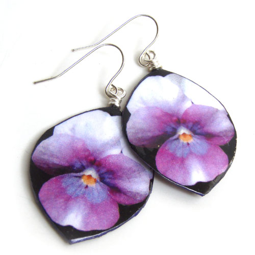 lacquered paper pansy earrings