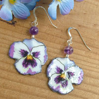 purple and white pansy paper earrings with sterling silver and gemstone amethyst