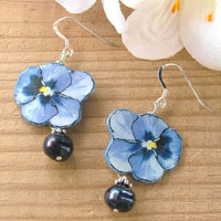 paper pansy earrings with black pearls and sterling silver
