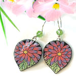 paper earrings with pink gerbera daisies accented with peridot Swarovski crystals