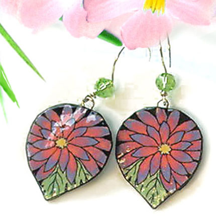 pink gerbera daisy earrings on paperjewels.com