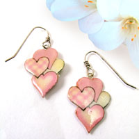 lacquered paper earrings - pink hearts earrings...custom colors available