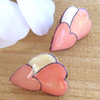 pink hearts earrings with offwhite, pink and deep pink - these can be made as post earrings or clip on earrings