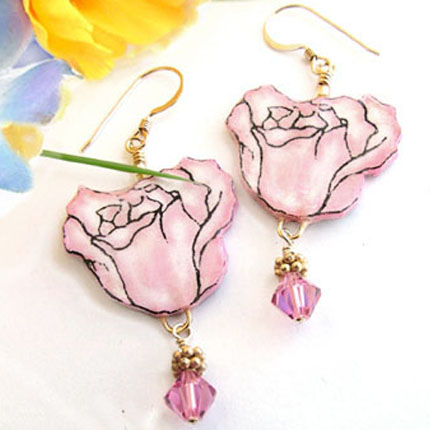 Lacquered Paper Pink Rose and Swarovski Crystal Earrings