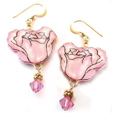 pink rose ppaer earrings with golden bali-style spacers and pink swarovski crystals...view 2