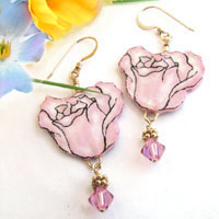 pink rose paper earrings made with lacquered paper and swarovski crystals