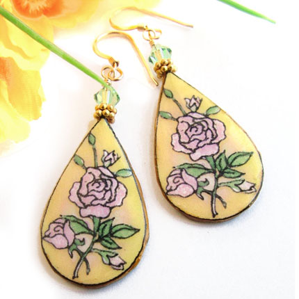 pink roses lacquered paper teardrop earrings with soft yellow background, with swarovski crystals and goldfilled earwires