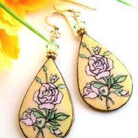 teardrop lacquered paper pink rose earrings with swarovski crystals