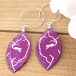 magenta purple cat paper earrings