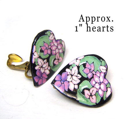 Purple Floral Heart Clip On Earrings from Paper Jewels