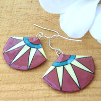 purple turquoise and white fan paper earrings
