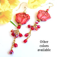 red rosebud lacquered paper earrings with chain and handwired crystal accent beads