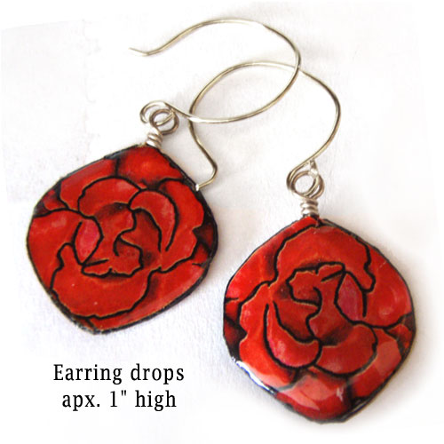 red rose oval paper earrings