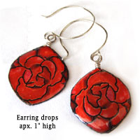 red rose paper earrings