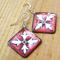 lacquered paper earrings - red, black and offwhite celtic design earrings...custom color choices available