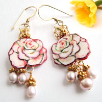 white and pink rose earrings with gold and pearls