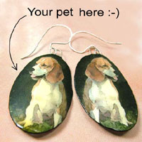 lacquered paper earrings - custom pet photo earrings