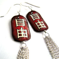 dark red paper earrings with sterling silver tassels and the Japanese kanji that says Freedom
