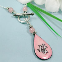 paper jewelry - japanese kanji mother teardrop necklace