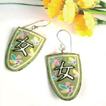 paper jewelry - lime green heart earrings with gold-filled earwires