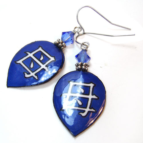lacquered paper earrings in sapphire blue,  the japanese kanji for Mother, and sterling silver earwires
