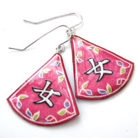 japanese kanji earrings that say Onna, or Woman...in deep pink with floral design motif