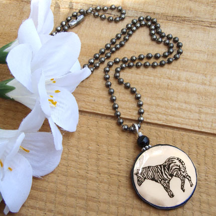 black and white zebra paper pendant...necklace chain is oxidized silver plated ball chain