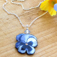 lilac and blue paper pansy pendant accented with a Swarovski crystal and a delicate silver plated chain