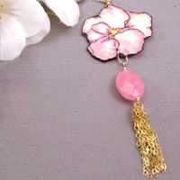 pink pansy necklace with pink jade