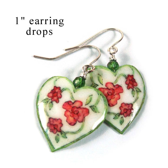 paper earrings featuring white hearts with flowers...a great first anniversary gift