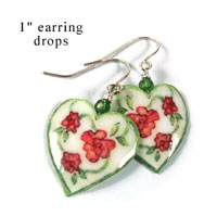 white hearts paper earrings with flowers from paperjewels.com
