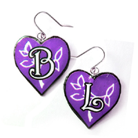 personalized heart earrings with your choice of initials and custom colors