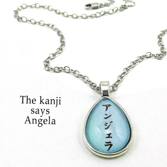 personalized kanji necklace that says Angela .... your name in Japanese