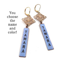 personalized Tamara earrings with brass filigree